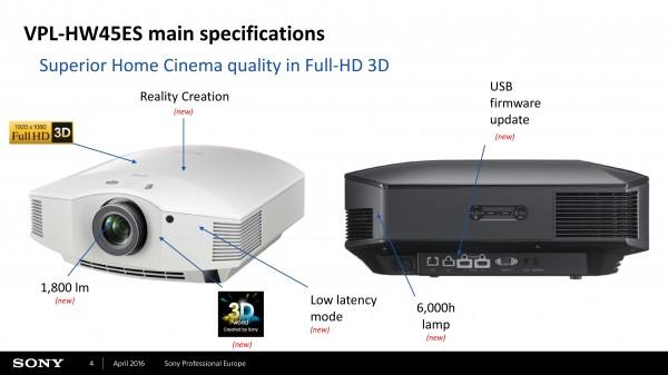 Máy chiếu Sony HW45ES có 2 màu đen và trắng phù hợp cho từng không gian phòng chiếu